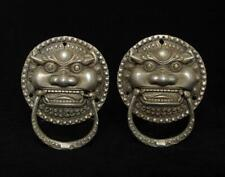 Pair Fine Antique Chinese Tibetan Silver Knocker