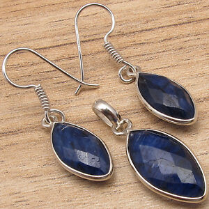 Simulated Gemstone SAPPHIRE, CUTE Earrings & Pendant SET ! Silver Plated Jewelry