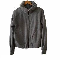 Lululemon Full Zip Mock Neck Gray Thumb Hole Warm Sweater Jacket Women's Sz 8