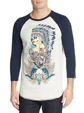 AFFLICTION NATIVE GIRL GRAPHIC BASEBALL TEE MENS SIZE MEDIUM NEW WITH TAGS