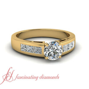 1.50 Carat Yellow Gold Diamond Rings GIA Certified Untreated Round Cut In Center