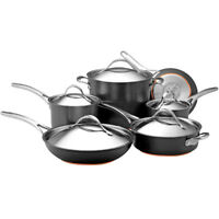 Anolon Nouvelle Copper Hard Anodized Nonstick 11-Piece Cookware Set in Dark Gray