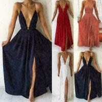 Sexy Women Deep V Neck Low Cut Club wear Sleeveless High Side Slit Club Dress