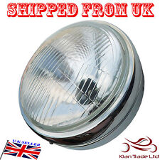 MOTORCYCLE ROYAL ENFIELD BULLET BIKE HEAD LIGHT WITH CHROMED RIM, GLASS LENS RIM