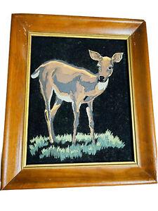 Vtg Bkack Velvet Framed Paint by Numbers Fawn 8x10