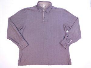 LL Bean Mens Herringbone Polo Pullover Shirt Sz Large Reg. 3 button Casual 0RW01