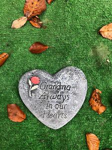 Grandma Always In Our Hearts, Memorial Stone Heart Garden Ornament Gravemarker