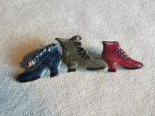 "Beautiful Brooch Pin Silver Tone Enameled Vintage Boots Shoes 2 3/4 x 7/8"" CUTE"