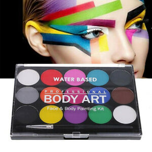 1 Box Water Based Face Paint Palette 15 Colors Non-toxic Face Body Painting Kit