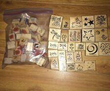 Lot of 25 plus  Stampin Up Wood Blocks Stamps