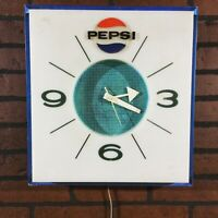 VINTAGE PEPSI WALL CLOCK SQUARe 60s 70s Tested Works