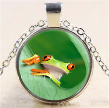 Green Tree Frog Glass Cabochon Tibet Silver Pendant Necklace + Free Gift