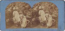 Scène artistique Femmes Nu Photo Stereo Vintage Albumine ca 1860