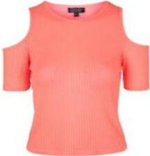 TopShop Womens Coral Pink Ribbed Knit Cold Shoulder Crop Top Size 4 $210