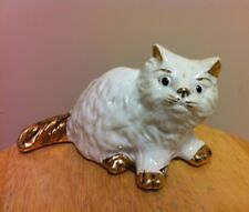 "Vintage Persian Ceramic Cat 6.5"" x 4""in Sitting Figurine White w/ Golden Inlay"