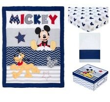 4 Pieces Disney Mickey Mouse Let'S Go Mickey Ii Crib Bedding Set.