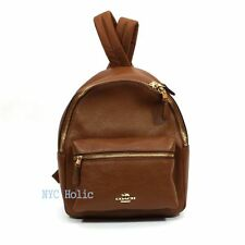 New Coach F38263 Mini Charlie Backpack In Pebble Leather Saddle Brown NWT