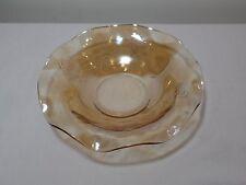 VINTAGE JEANNETTE FLORAGOLD DEPRESSION GLASS CARNIVAL Iridescent ruffle BOWL