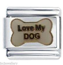 LOVE MY DOG BONE - Daisy JSC 9mm Fits Classic Size Italian Charm Bracelet