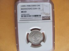 CHINA KWANGTUNG 1890-1908 20 Cent Silver Dragon Coin NGC MS63