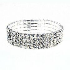 1154 - Stretch silver rhinestone four row tennis bracelet fashion jewellery O/s