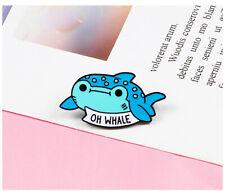 Sea Animal Enamel Lapel Pin Women Fashio Oh Whale Cartoon Brooch Pin Blue Fishes