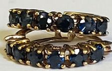 10k Yellow Gold 12 Natural Round Deep Blue Sapphires Hoop Earrings Estate 1.7grm