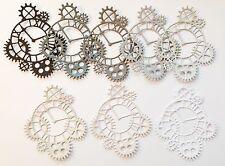 New - Steampunk Clock Die Cuts - Monochrome (pack Of 8)