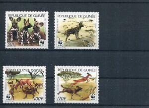 1987 WWF GUINEA African Wild Dog 4V MNH POST FREE