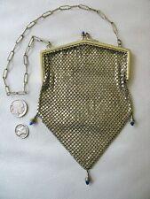 Antique Art Deco Gold Frame Blue Jewel 3 Ball Kiss Clasp Micro Chain Mail Purse