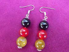 Ohrringe, schwarz-rot-gold, Achat, rote Jade,  10mm