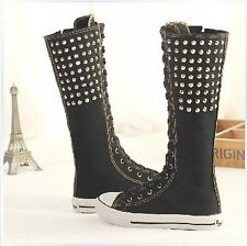 New Rivet Gothic PUNK EMO Women Boot Girls Shoes Sneaker Knee High Zip Laces Up