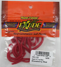 """EXUDE 2-1/2"""" TROUT WORMS - STRAWBERRY RED ETW15-ST9F"""
