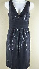 NWT New London Times Black Sequin Party Cocktail Dress Size 6 V Neckline Prom