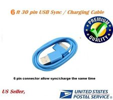6ft Blue 30 pin to USB Sync Data Charging Charger Cable Apple iPhone 4 4S 4G
