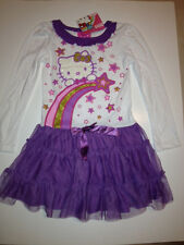 BRAND NEW HELLO KITTY WHT/PURPLE SPARKLY TUTU DRESS. SIZES 4 & 6..NWT..VERY CUTE