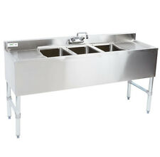 "60"" Three Compartment 3 Bowl Underbar Sink Drainboard Commercial Stainless Steel"