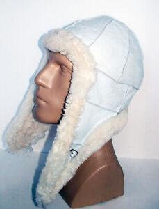 NEW Handmade Unisex Sheepskin Bomber Aviator Pilot Fur Hat Real Leather size M-L