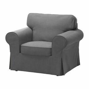 Ikea EKTORP Armchair (Chair) Slipcover Cover NORDVALLA DARK GRAY New Sealed