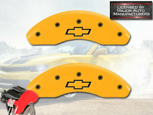 """2016 Chevy Cruze Limited Front Yellow MGP Brake Disc Caliper Cover 2pc """"Bowtie"""""""