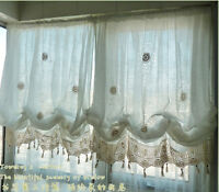 Adjustable Balloon Shade Crochet Hook Sheer Curtain Scalloped Window Curtain