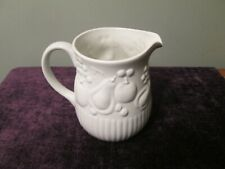 "Libbey Ceramic White w/ Textured Fruit Ribbed Table Pitcher Vase 8.5"" tall"
