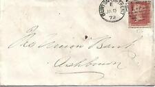 GB QV 1872 BANK COVER PENNY RED 'PL' PLATE 135 BURTON ON TRENT TO ASHBOURNE