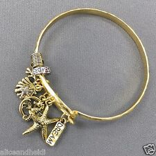 Gold Hammered Sea Life Inspired Starfish Clam Seahorse Dream Charm Bracelet