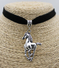 Fashion Steed Horse Retro Silver Tone Pendant Party  Women String Necklace #01