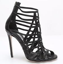GIANMARCO LORENZI Womens Black Leather Cage Ankle-Boot High-Heel 8.5-38.5