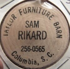 Vintage Sam Rikard Columbia, SC Wooden Nickel - Token South Carolina
