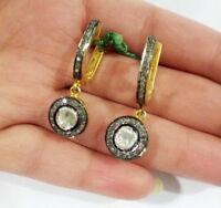 18k Gold & Sterling Silver Natural Rose Cut Diamond ! Diamond Polki Earrings