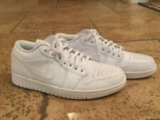 Men's Nike Air Jordan 1 Low 8 Triple White Basketball Shoes 553558-105 Excellent