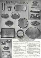 1939 PAPER AD Hammered Hand Wrought Aluminum Ware Tray Horse Fish Bird Design